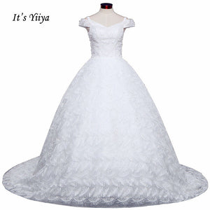 Free Shipping Long train Sleeveless Wedding dresses V-neck Vestidos De Novia Off white dress Bridal Ball gowns Frock IY036