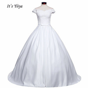 Free shipping New Arrival Short sleeve Wedding Dresses Long Train Gowns Appliques Frocks dress V-neck Vestidos De Novia IY014