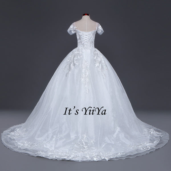 Free Shipping Long train Short Sleeve Wedding dresses Sweetheart Vestidos De Novia Off white dress Bridal Ball gowns Frock IY035