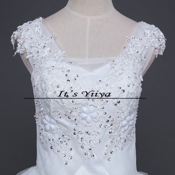 Free shipping YiiYa 2016 new Bridal White wedding dress Wedding gowns Trailing Romantic Flowers Train Vestidos De Novia HS222