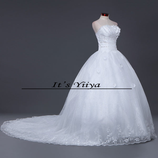 DHL Free Shipping New Train White Vestidos De Novia Design Bride Wedding frocks Strapless Flowers Bridal Wedding dresses TH52