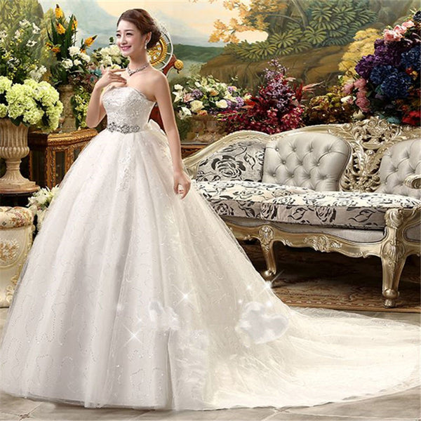 It's YiiYa 2017 new quality white train handmade wedding gowns frocks special wedding dress Vestidos De Novia XXN097