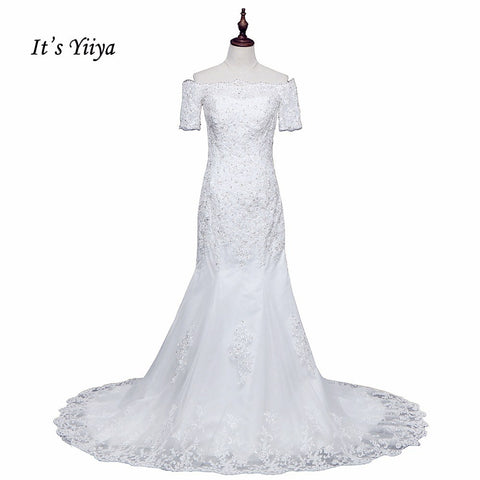 Free Shipping Short Sleeve Wedding dresses Mermaid Vestidos De Novia Off white dress Bridal Ball gowns Long train Frocks HS705