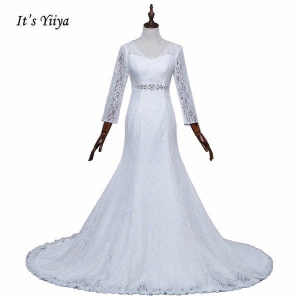 Free Shipping Wedding dresses  V-neck Vestidos De Novia Off white dress Bridal Ball gowns Long train Long sleeve Frock IY038