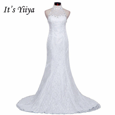 Free shipping New Train White Red Mermaid Wedding Dresses Trailing Halt Neck Vestidos De Novia Short Sleeves Bride Gowns XXN165