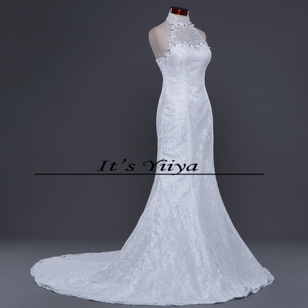 7c277516a7fa2 Free shipping New Train White Red Mermaid Wedding Dresses Trailing Halt  Neck Vestidos De Novia Short Sleeves Bride Gowns XXN165 Write Review