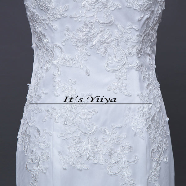 Free shipping 2016 new quality white Boat Neck Mermaid Trailing Vestidos De Novia Train Wedding Gowns Lace up Bride Frocks D95