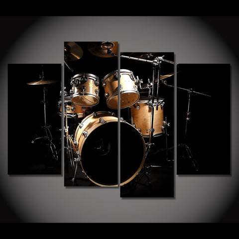 HD Printed 4 Piece Canvas Art Music Drum Painting Vintage Wall Pictures for Living Room Home Decor Free Shipping NY-7071A