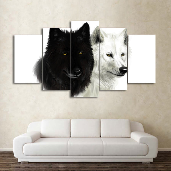 HD Printed 5 Piece Canvas Art Black And White Wolf Painting Animal Wall Pictures for Living Room Modern Free Shipping CU-1811C