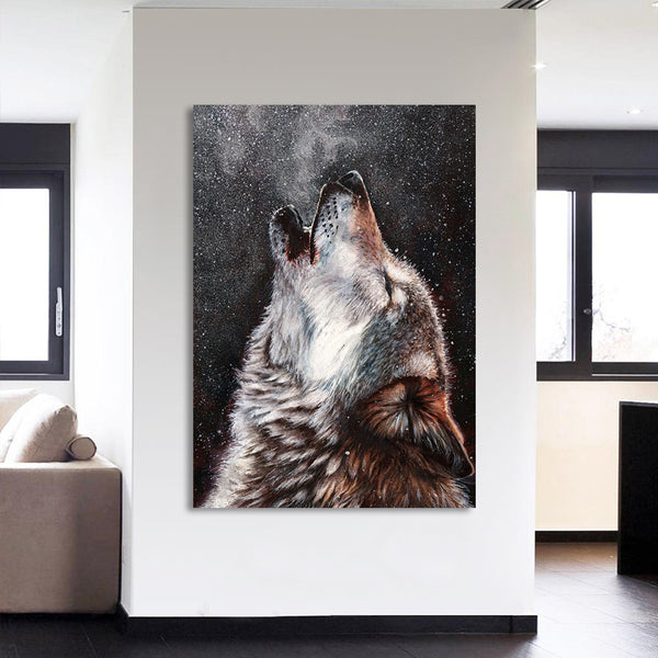 HD Printed 1 Piece Canvas Art Howling Wolf Painting Abstract Framed Modular Wall Pictures for Living Room Free Shipping CU-1735A