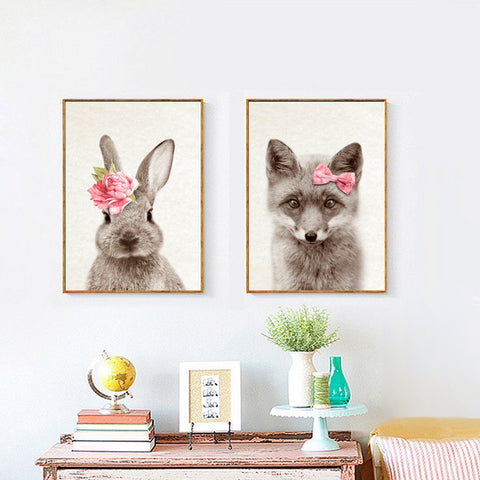Wear Flowers Kawaii Animals Rabbit Deer Art Prints Poster Nursery Wall Picture Canvas Painting Kids Room Decor No Frame FG0089B
