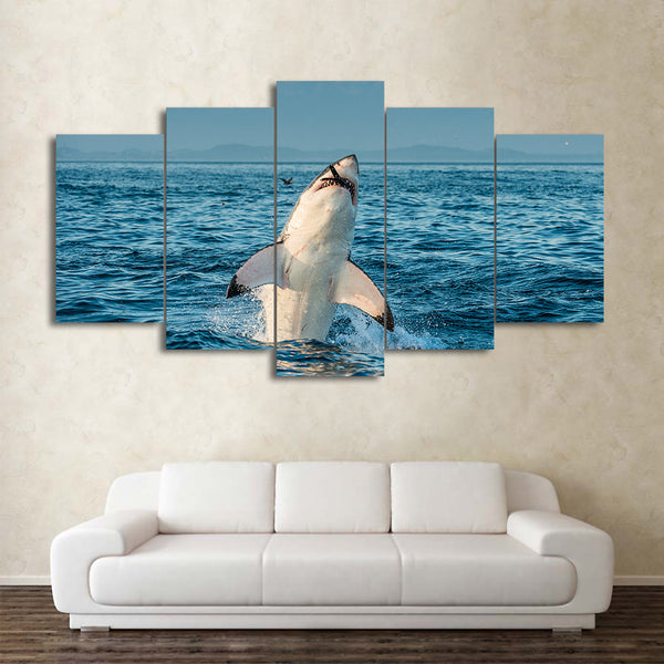 HD printed 5 piece canvas art Marine shark prey painting wall pictures for living room modern free shipping/CU-1995A