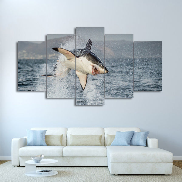 HD printed 5 piece canvas art animal Ocean shark jumps painting wall pictures for living room modern free shipping/CU-1997B