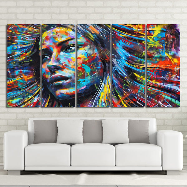 5 Piece Canvas Art colorful hair figure woman face painting Free Shipping CU-2010C
