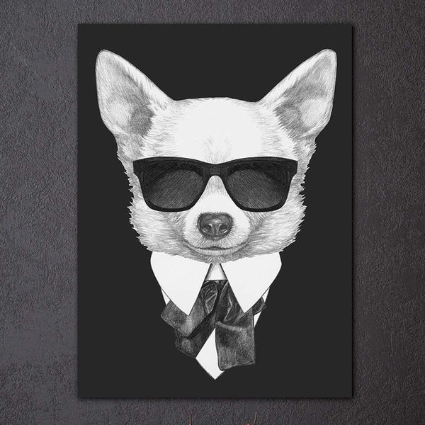 1 piece modern black white painting Italy Mafia Fashion Animals Dog Cat poster grey canvas print wall art posters room decor