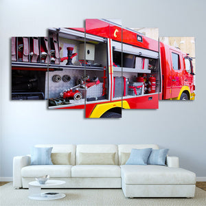 HD Printed 5 Piece Canvas Art Fire Truck Painting Fire Tools Wall Pictures Decoration  Modular Painting Free Shipping CU-1949C