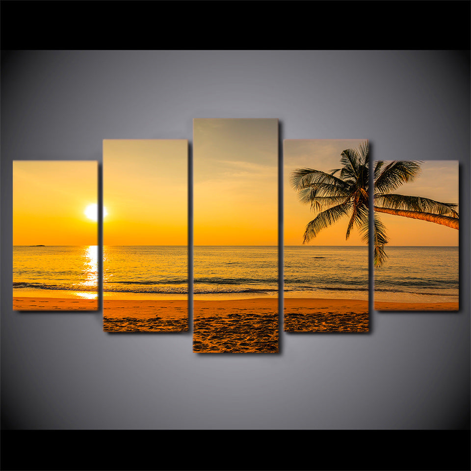 Hd printed 5 piece canvas art tropical beach sunset palm tree painting wall pictures for living room free shipping cu 2026b