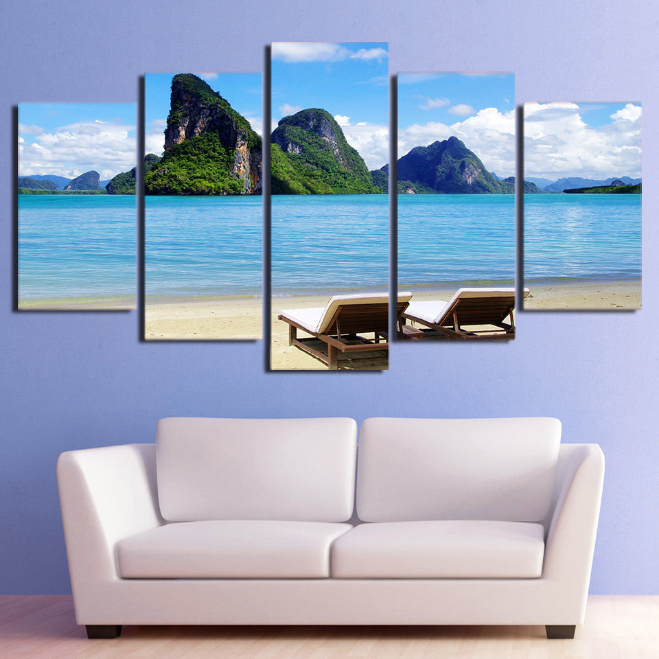 HD printed 5 piece canvas art blue sky tropical sea coast painting wall pictures for living room free shipping CU-2025B