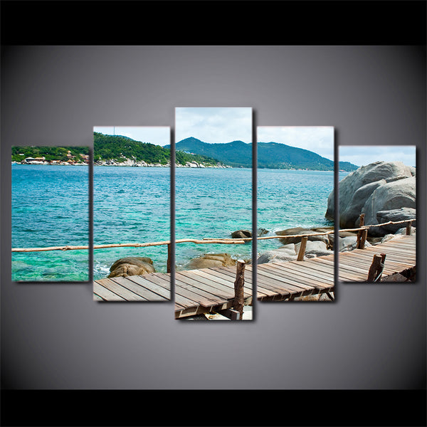 HD printed 5 piece canvas art beautiful sea coast boardwalk painting wall pictures for living room modern free shipping CU-2021A