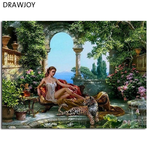 DIY Frameless Wall Paint Pictures Painting By Numbers Lady And Leopard DIY Canvas Oil Painting Home Decor For Living Room GX5325