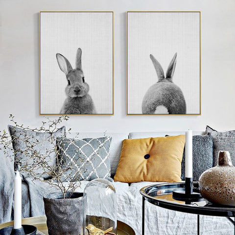 Rabbit Tail Canvas Painting Nursery Wall Art Animal Poster and Print Nordic Woodland Picture for Kids Baby Girls Room Home Decor
