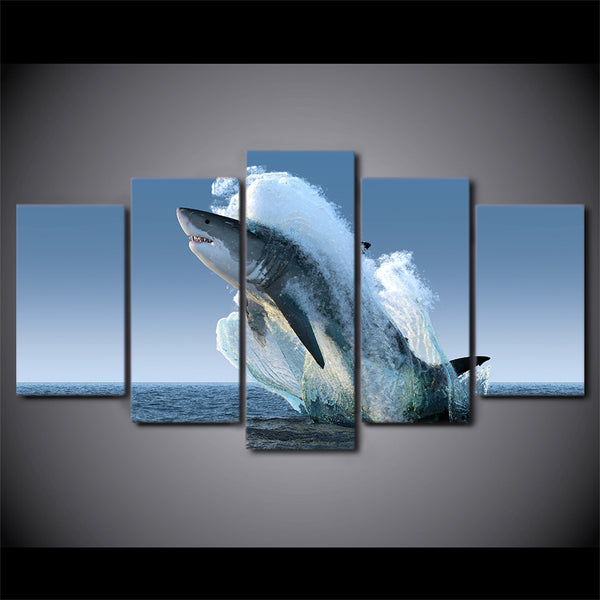 HD Printed 5 Piece Canvas Art Jumping White Shark Painting Wall Pictures for Living Room Modern Free Shipping CU-2069B