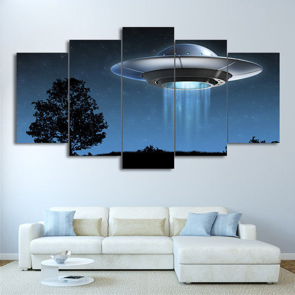 HD printed 5 piece canvas art Universe Flying UFO painting Framed wall pictures for living room modern free shipping CU-2072B