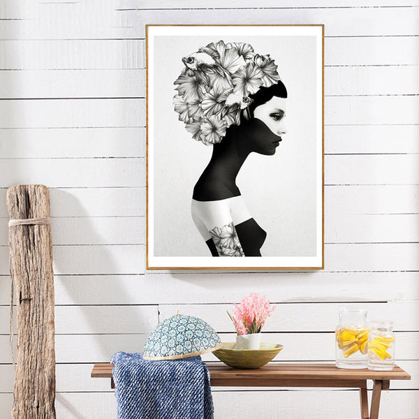 Nordic Decoration Flower Posters And Prints Girl Canvas Prints Wall Art Canvas Painting Wall Pictures For Living Room Unframed