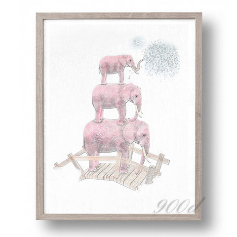 Elephant Sketch Canvas Art Print Painting Poster,  Wall Pictures for Home Decoration, Wall Art Decor Ye15-4