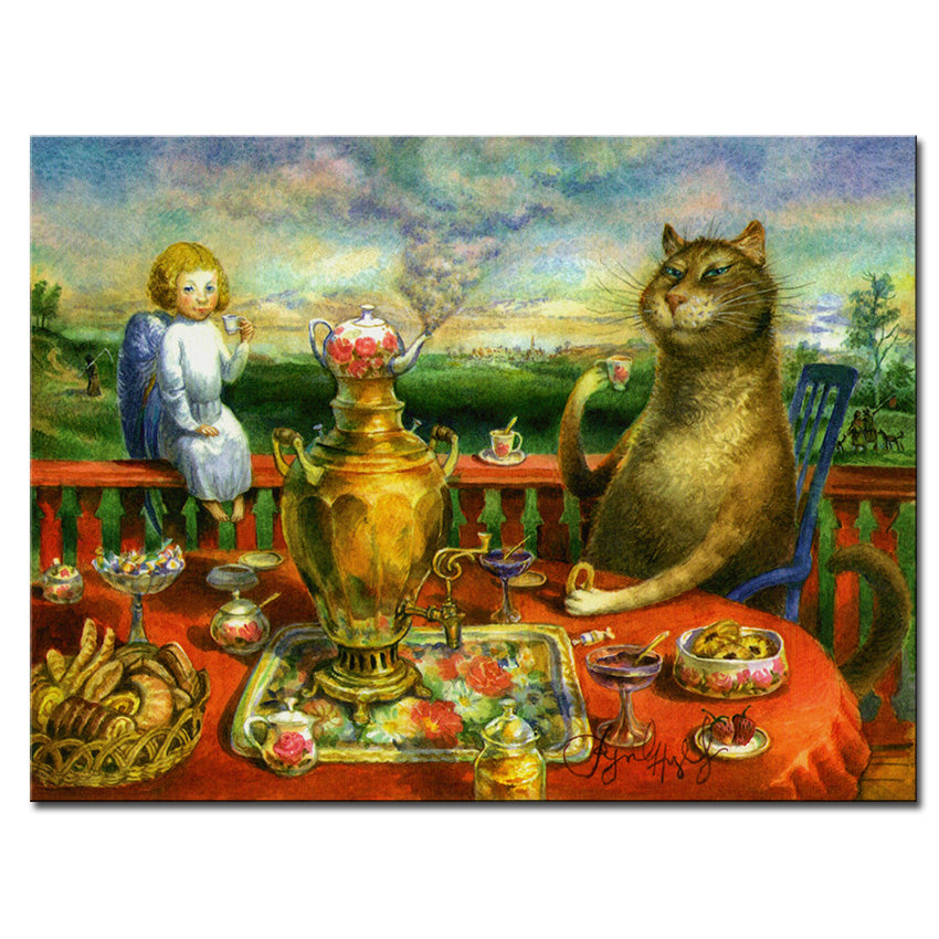 Vladimir Rumyantsev waiting the cat world oil painting wall Art Picture Paint on Canvas Prints wall painting no framed