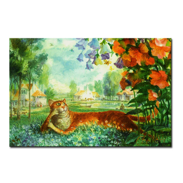 Vladimir Rumyantsev sleeping flower cat world oil painting wall Art Picture Paint on Canvas Prints wall painting no framed