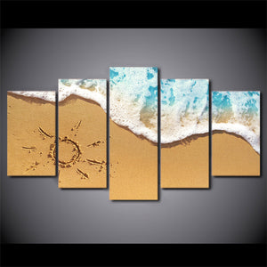 HD Printed 5 Piece Canvas Art Beach Wave Painting Beach View Wall Pictures Decor Framed Modular Painting Free Shipping CU-2081C