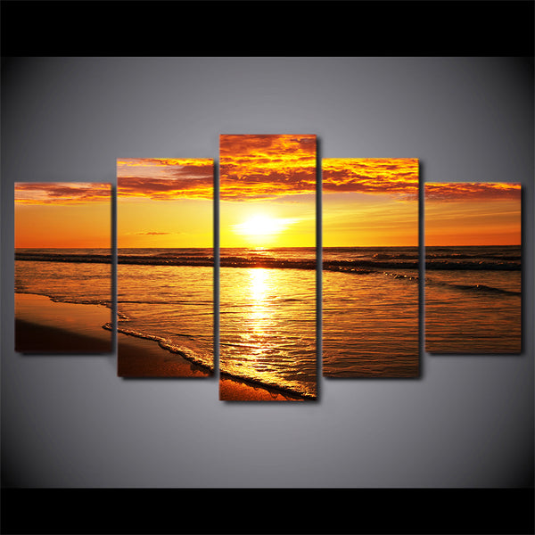 HD Printed 5 Piece Canvas Art Golden Sunset Painting Beach Landscape Wall Pictures for Living Room Modern Free Shipping CU-2078B