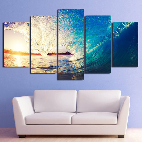 HD printed 5 piece canvas art huge waves blue sea sunset painting wall pictures for living room modern free shipping CU-2034B