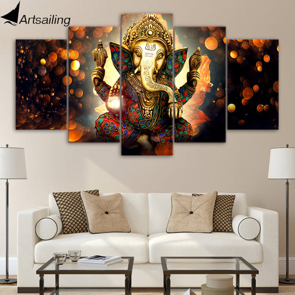 HD Printed 5 Piece Canvas Art Hindu God Ganesha Elephant Painting Wall Pictures for Living Room Modern Free Shipping UP-1931B