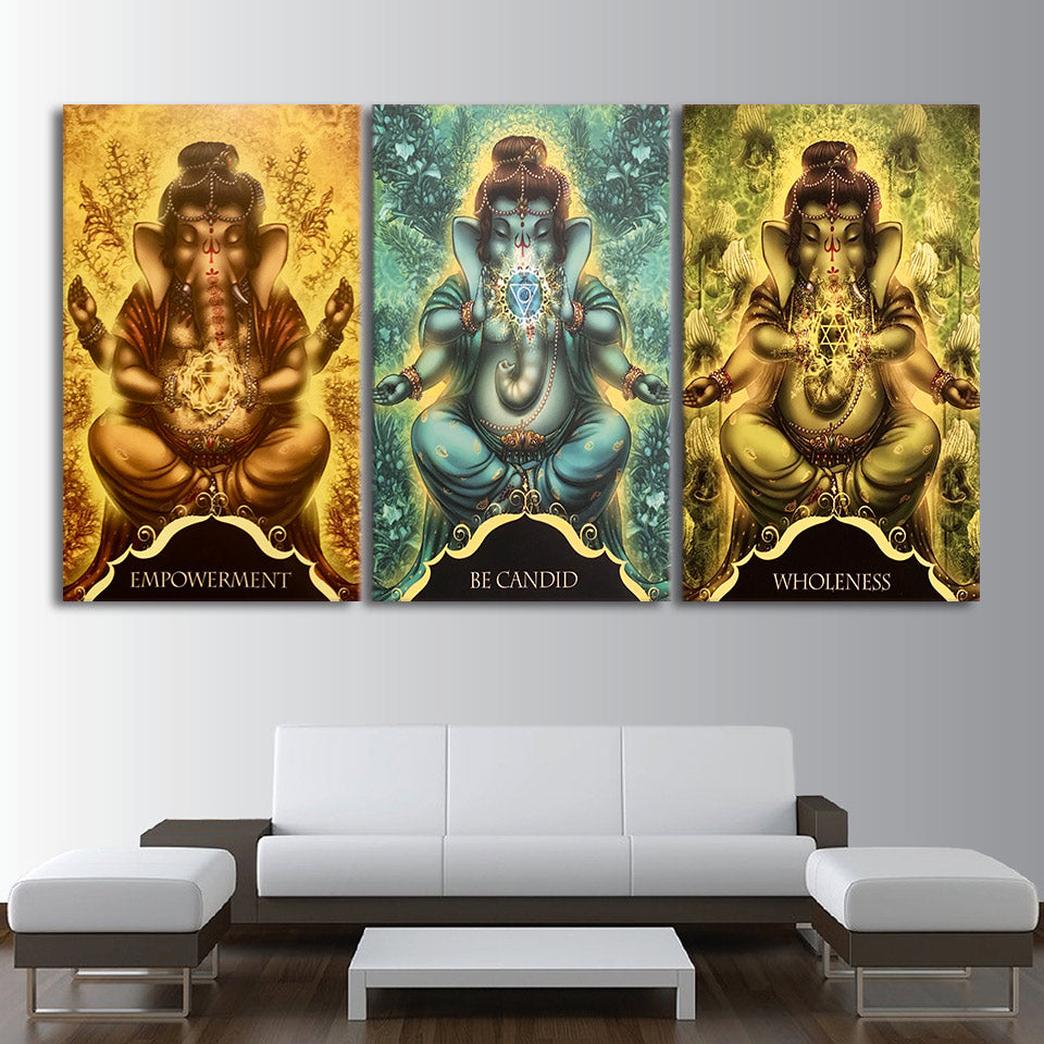 HD printed 3 piece canvas art whispers of lord ganesha painting wall pictures for living room modern free shipping CU-2215D