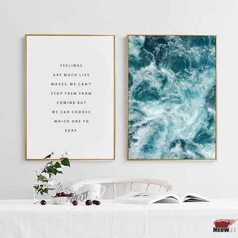 Posters Wall Art Printed Canvas Painting For Living Room Sea Wave Nordic Decoration Follow Your Feelings Wall Decor Picture