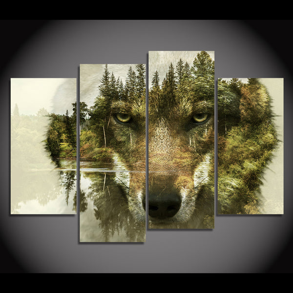 HD printed 5 piece canvas art Abstract animal wolf woods painting wall pictures for living room modern free shipping/CU-2249B