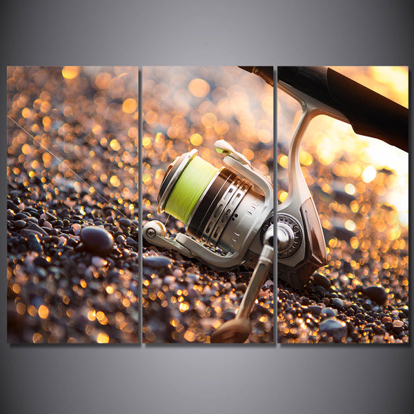 HD Printed 3 Piece Canvas Art Fishing Gear Hooks Rod Painting Wall Pictures for Living Room Canvas Prints Free Shipping NY-6934C