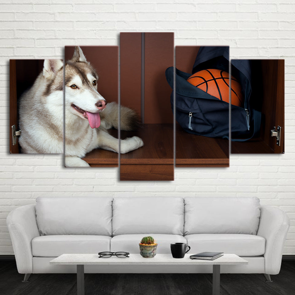 HD Printed 5 Piece Canvas Art Basketball Painting Framed Husky Wall Pictures for Living Room Modern Free Shipping CU-2336B