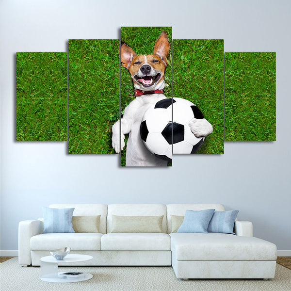 HD Printed 5 Piece Canvas Art Football Painting Dog Playing Wall Pictures Gym Poster Modular Painting Free Shipping CU-2337C