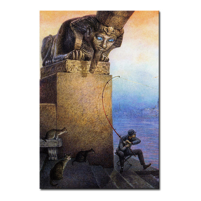 Vladimir Rumyantsev up and down cat world oil painting wall Art Picture Paint on Canvas Prints wall painting no framed