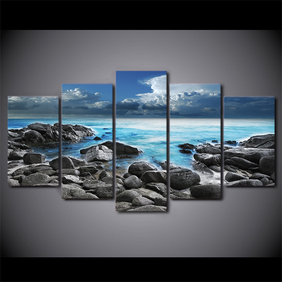 HD Printed 5 Piece Canvas Art Seaside Seascape Painting Wave Wall Pictures Home Modular Framed Painting Free Shipping CU-2340B