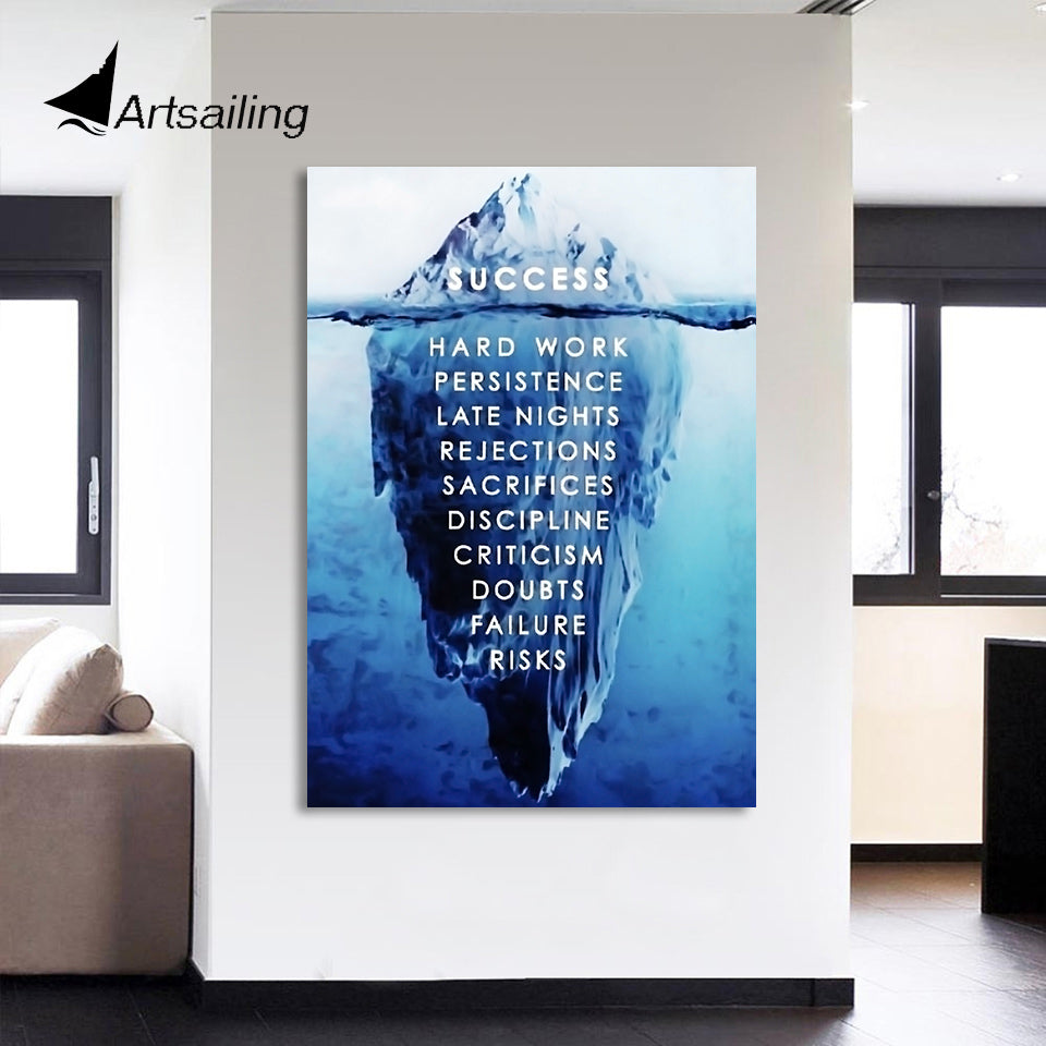 HD Printed 1 piece Canvas Painting Inspirational Poster Ice Mountain Underwater Painting Room Decoration Free Shipping CU-2339B