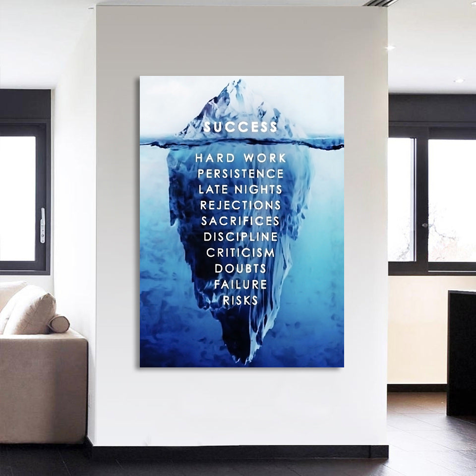 HD Printed 1 piece Canvas Inspirational Poster Ice Mountain Underwater Painting  Motivational Quote Free Shipping CU-2339B