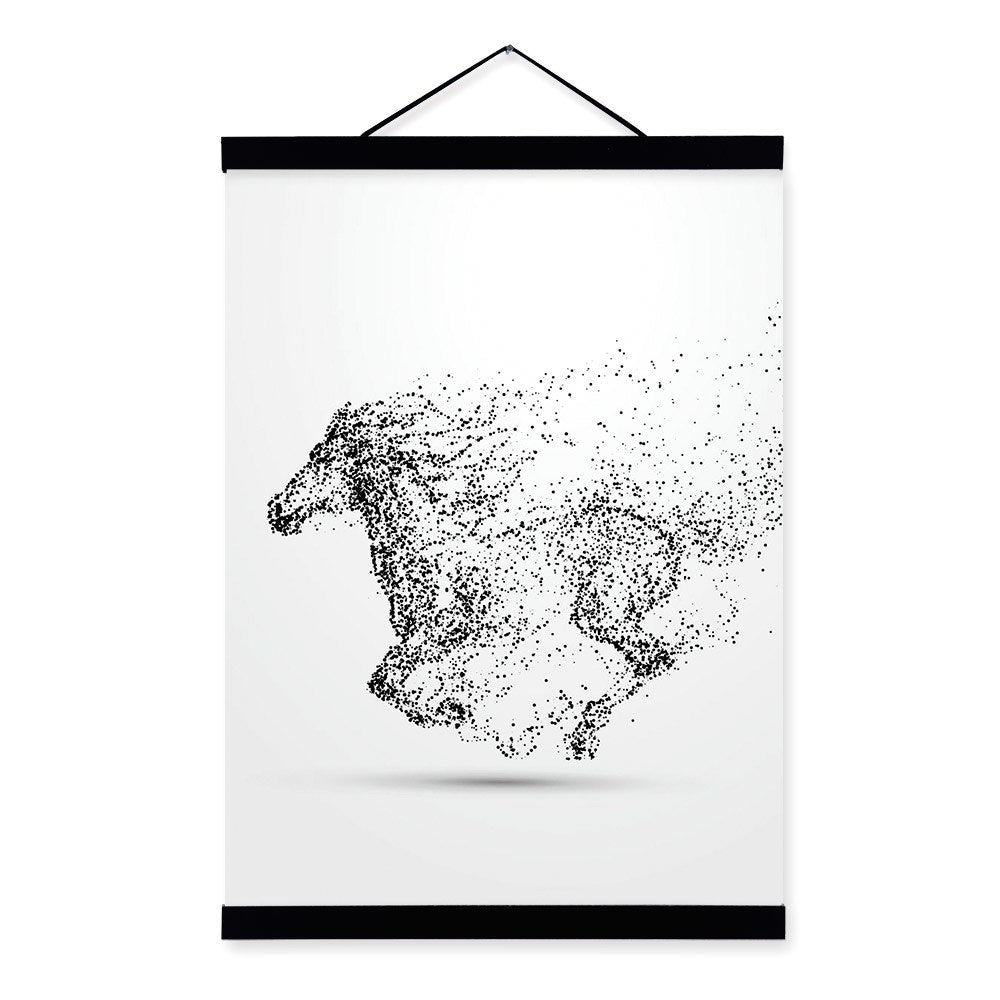 Abstract Black White Ink Animal Wolf A4 Wooden Framed Poster