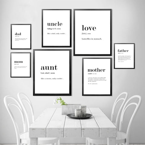Definition Analysis of English Words Art Print Poster Love Mother Father Aunt Uncle Art Poster Print Canvas Painting HD2113