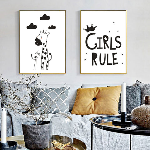 Girls Rule Canvas Painting Black White Minimalist Nordic Posters Wall Art Picture for Nursery Kids Rooms Unframed Drop Shipping