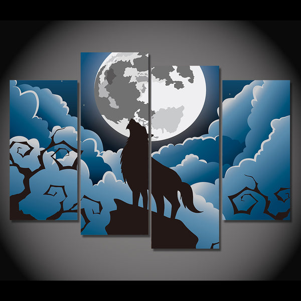 HD printed 4 piece canvas art wolf in moon night comic painting wall pictures for living room modern free shipping NY-7072D
