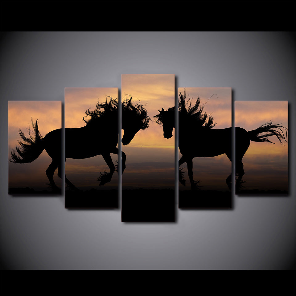 HD Printed 5 Piece Canvas Art Galloping Black Horses Painting Shadow Wall Pictures for Living Room Decor Free Shipping NY-7111B